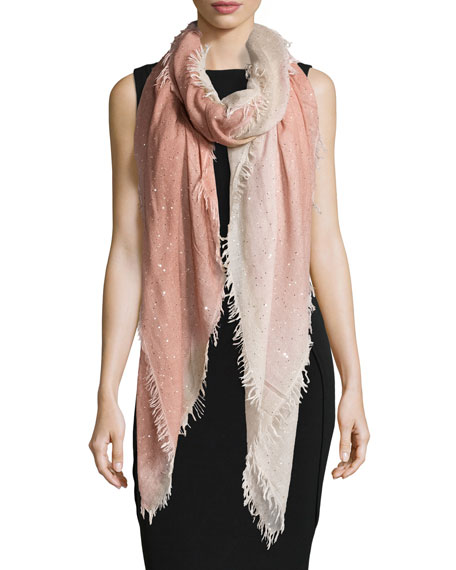Faliero Sarti Monique Ombre Metallic Square Scarf, Peach