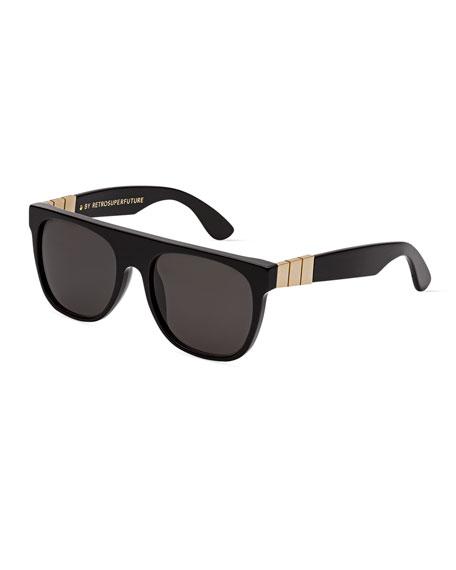 Flat Top Monochromatic Metal-Trim Sunglasses, Black/Gold