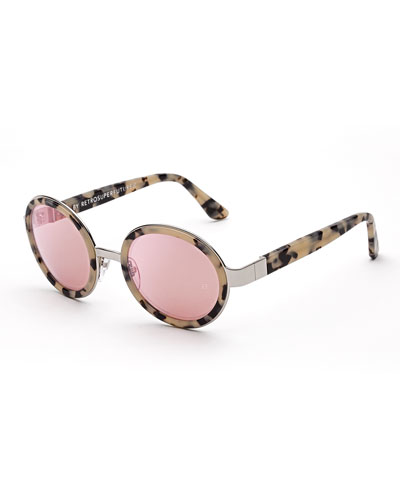 Santa Gel Round Sunglasses, Cream Havana