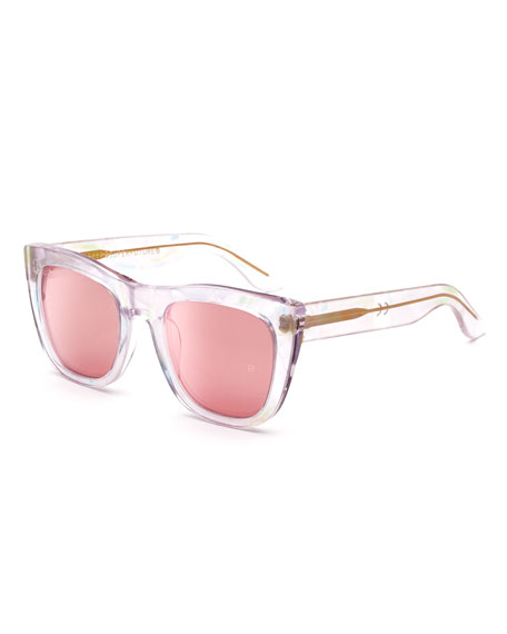 Gals Pool Transparent Rounded Square Sunglasses, Pink
