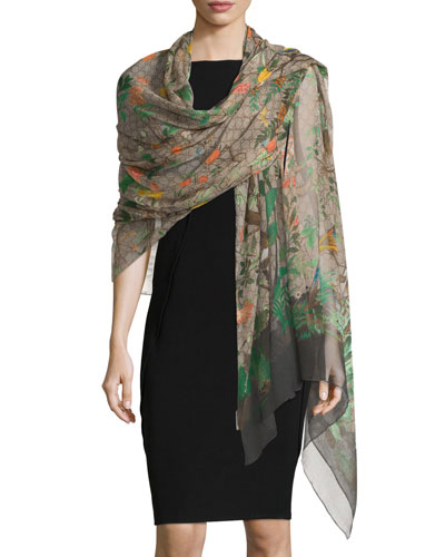 Silk Tian Evening Stole, Loden/Brown