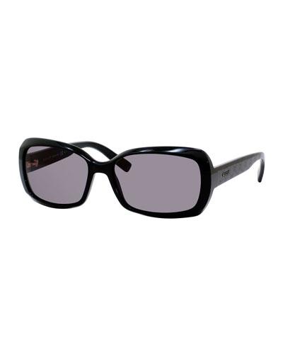 Embossed Square Acetate Sunglasses, Black