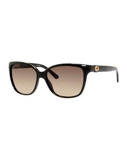 Square Acetate Sunglasses, Black