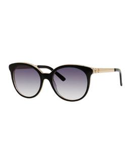 Rounded Cat-Eye Sunglasses, Black/Indigo