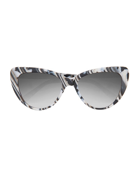 Capri Printed Cat-Eye Sunglasses, Black/White