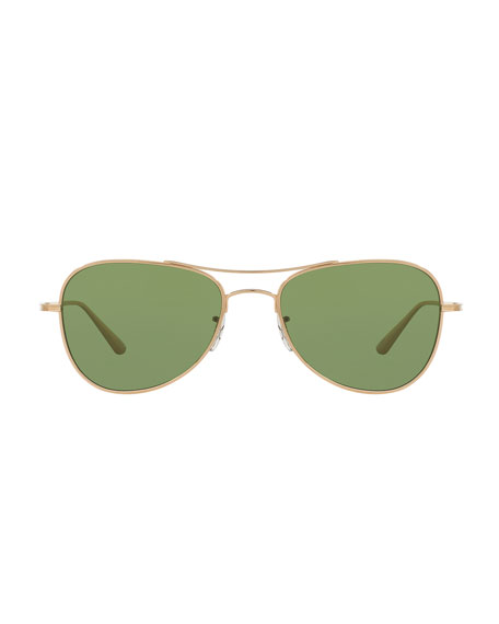 Executive Suite Photochromic Aviator Sunglasses, Gold/Green