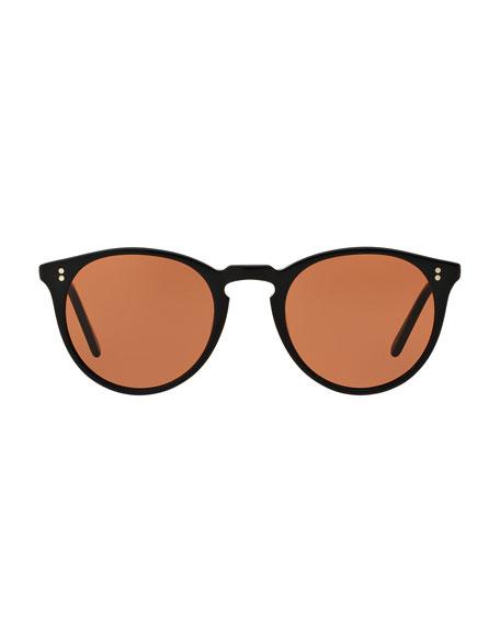 O'Malley NYC Peaked Round Sunglasses, Black