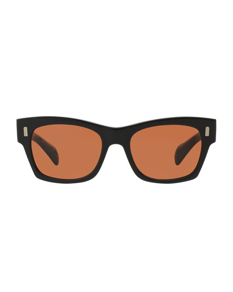 71st Street Square Sunglasses, Black/Persimmon