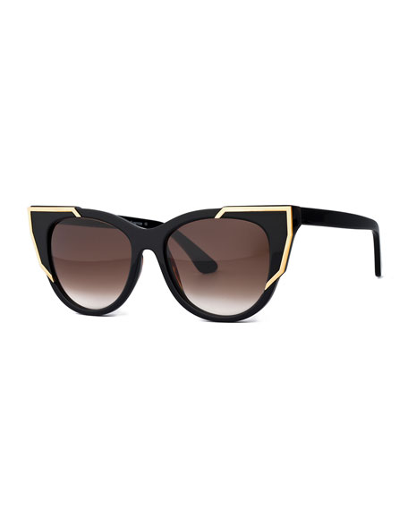 Butterscotchy Cat-Eye Sunglasses, Black/Gold