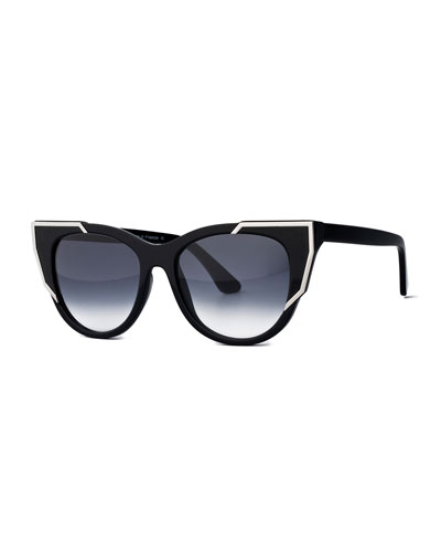 Butterscotchy Cat-Eye Sunglasses, Black/Silver
