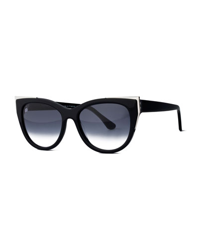 Epiphany Capped Cat-Eye Sunglasses, Black/Silver