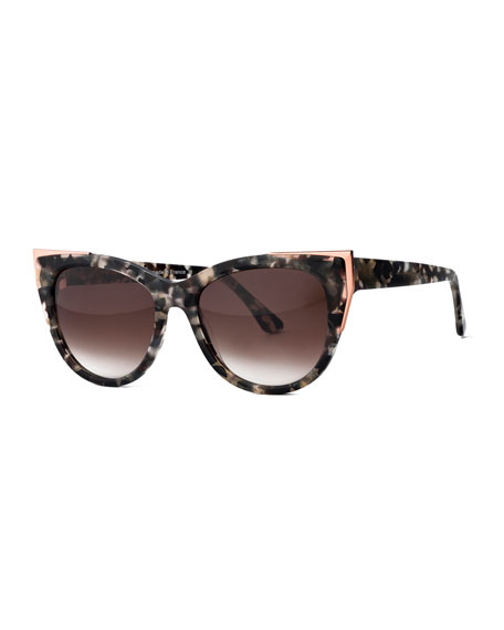 Thierry Lasry Epiphany Capped Cat-Eye Sunglasses, Gray/Tortoise