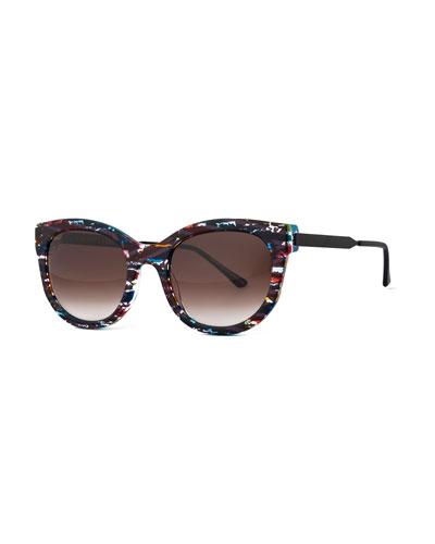 Lively Limited Edition Vintage-Pattern Square Sunglasses, Black/Multicolor
