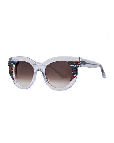 Slutty Vintage Gradient Square Sunglasses, Clear