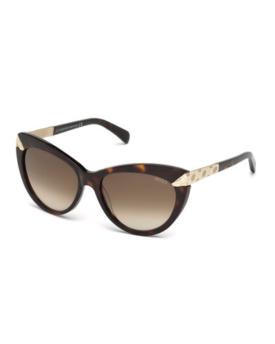 Embossed-Trim Cat-Eye Sunglasses, Dark Havana
