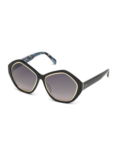 Printed Pentagonal Sunglasses, Black