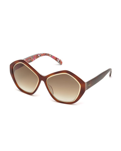 Printed Pentagonal Sunglasses, Light Havana