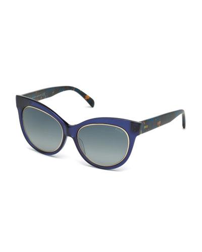 Printed Cat-Eye Sunglasses, Blue