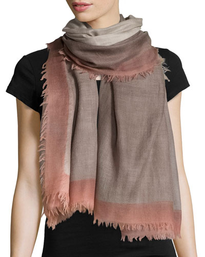 Wool Colorblock Scarf, Gray/Peach