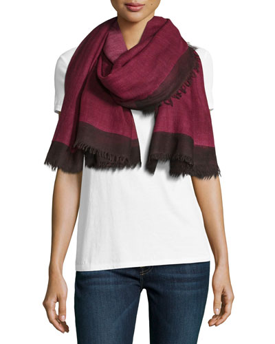 Wool Colorblock Scarf, Pink/Black
