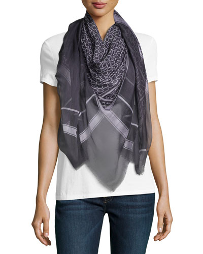 Gandama Voile Square Scarf, Navy