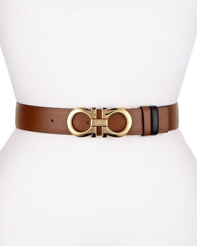 Reversible Saffiano Leather Gancini Belt, Brown/Black