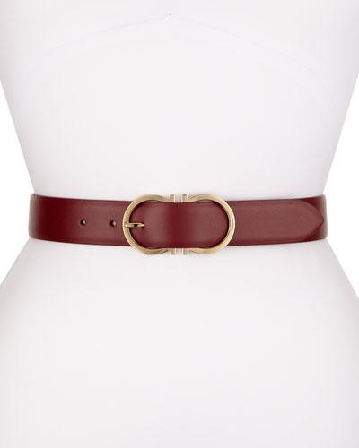 Calf Leather Gancini-Buckle Belt, Magenta