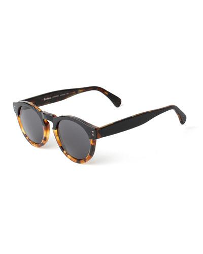 Leonard Bi-Color Sunglasses, Black/Tortoise