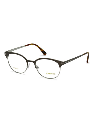 Rounded Square Optical Frames, Brown/Silver