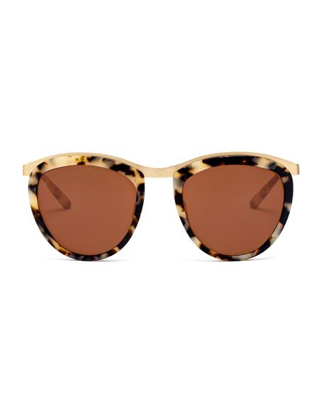 Comic Strip Monochromatic Square Sunglasses, Marble Glam/Gold