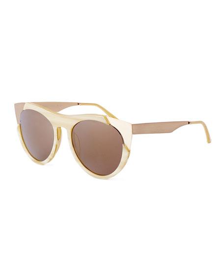 Zoubisou Cat-Eye Sunglasses, Cream/Gold