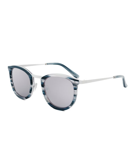 Baja East Shout Square Sunglasses, Baja White/Black