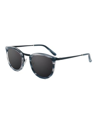 Baja East Shout Square Sunglasses, Baja Black/White
