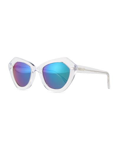 Bilbao Mirrored Geometric Cat-Eye Sunglasses, Clear/Green
