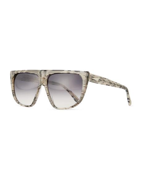 Chamonix Streaked Flat-Top Sunglasses, Leopard