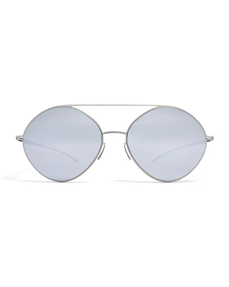 Essential Brow-Bar Round Sunglasses, Silvertone