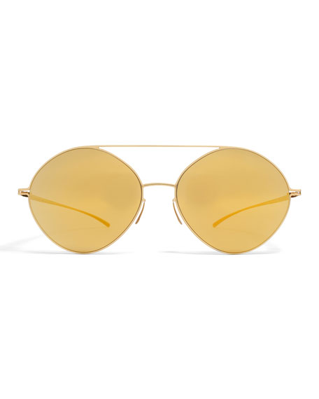 Essential Brow-Bar Round Sunglasses, Golden