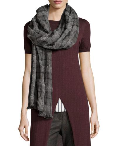 Cashmere Check Scarf, Gray/Black