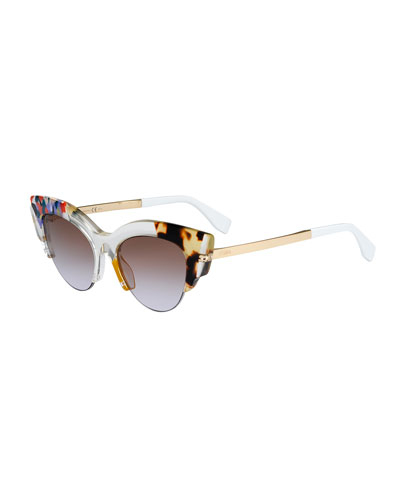 Half-Rim Pointed Cat-Eye Sunglasses