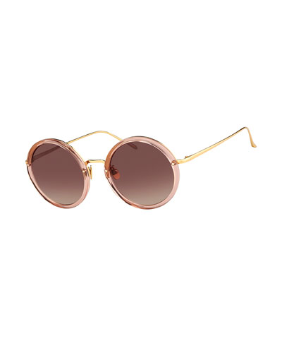Trimmed Round Mirrored Sunglasses, Pink/Yellow Gold