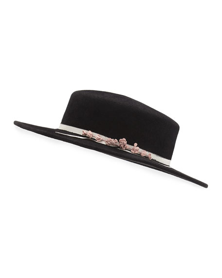 Brigitte Felt Boater Hat, Black