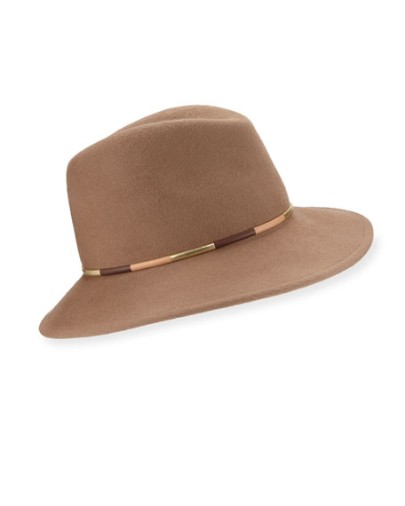 Bianca Leather-Trim Felt Fedora Hat, Camel