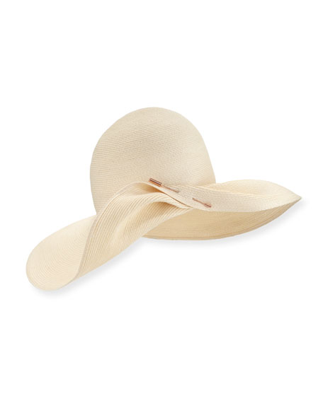 Cate Pinned Wide-Brim Sun Hat, Ivory