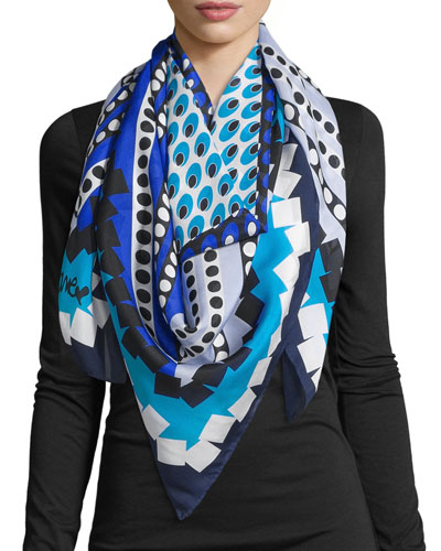Silk Square Dot Bands Scarf, Blue