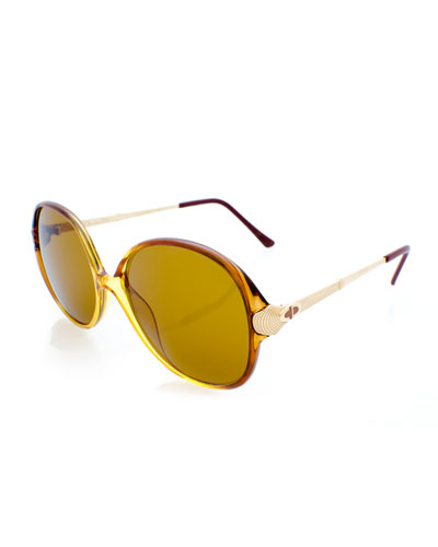 Oversized Monochromatic Sunglasses, Beige Gold