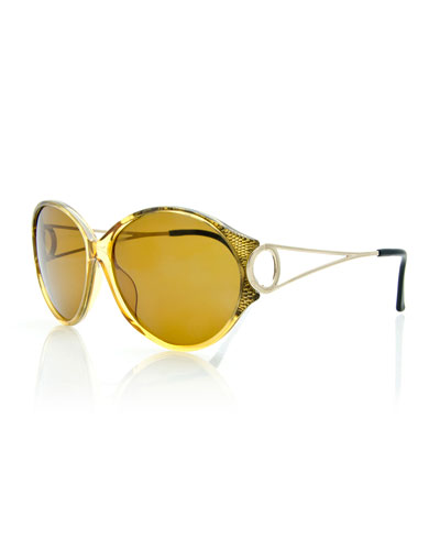 Round Open-Arm Monochromatic Sunglasses, Yellow/Light Gold