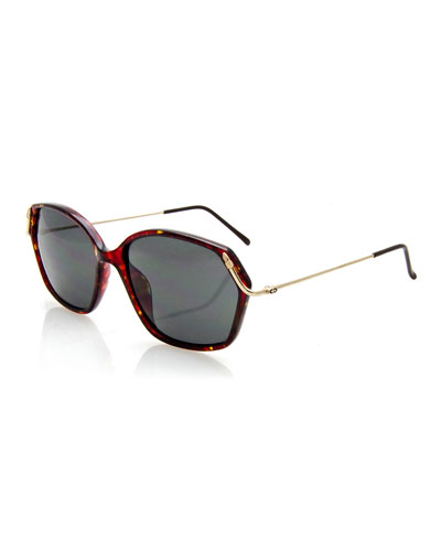 Geometric Monochromatic Sunglasses, Red/Brown