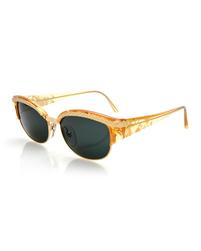 Printed Embossed Square Sunglasses, Gold