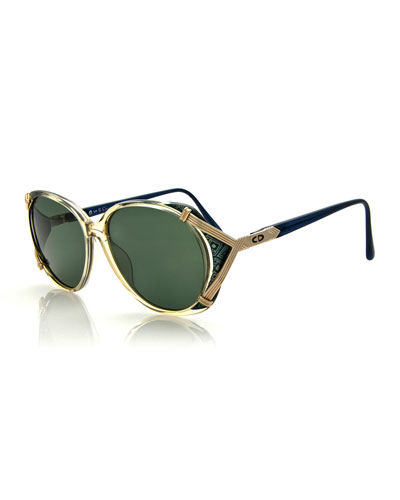 Round Printed-Inset Sunglasses, Green/Gold