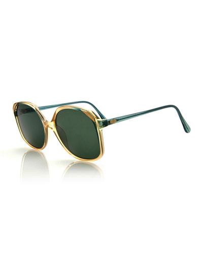 Two-Tone Square Sunglasses, Green